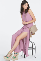 JustFab Goddess Side Slit Maxi in Dusty Mauve