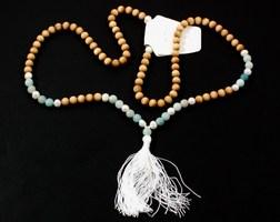 """""""Balance"""" Sandalwood, Pearl, and Amazonite Mala ($120 value)"""