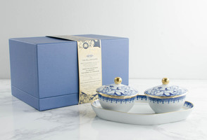 Mottahedeh Heirluminare Two Votives with Tray