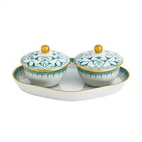 Mottahedeh Heirluminare Two Votives with Tray in Green Lace