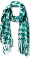 Brianne Faye Green Houndstooth Woven Fringed Scarf