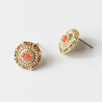 Hibiscus Coral Earrings
