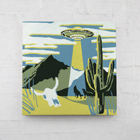 "UFO Paint By Number Kit -- 6x6"" on hangable wood panel with brush and paints"