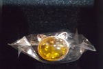 Amber Silver Cat Ring