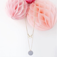 Barbarisme Button Layered Necklace in Gold/Grey