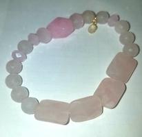 ArtZen LOVE (pink) Gemstones & 24kt Gold Plates Sterling Silver bracelet