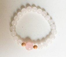"Rose quartz and white jade ""love yourself"" bracelet"