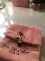Les Nereides flower, leaf, and dangling acorn ring