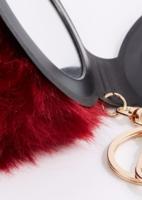 Burgundy Pom Mirror Handbag Charm/Key chain