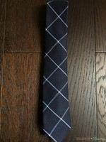 Cotton Brew windowpane navy necktie