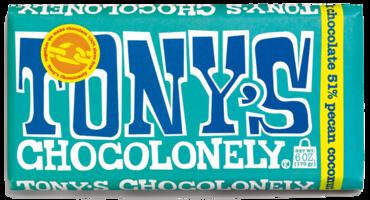 Tony's Chocolonely dark chocolate, pecan coconut - Huge bar