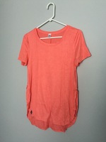 Coral Scoop Neck T-shirt with side slits