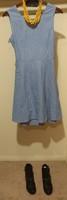 Blue Pinstriped A-Line Dress with Peekaboo Back