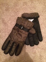 Fur-lined winter gloves