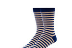 Navy/Tan Striped Socks