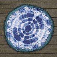GYPSY05 Boho Beach Roundie in Blue Tie Dye