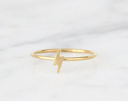 Harry Potter Gold Lightning Bolt Ring