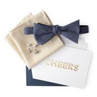 Dibi Tan Linen Pocket Square and Blue Bow Tie