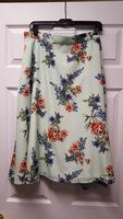 Modcloth 1x Mint Floral Midi Skirt