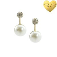 T & J Designs Pave Suspension Pearl Drop Earrings