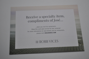 Jose Andres Complimentary Item at Restaurant Card
