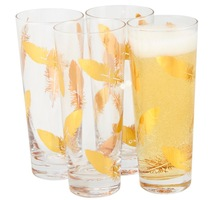 Gold Feather Stemless Champagne Glasses *Set of 2*