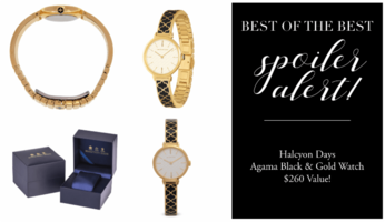Halcyon Days Agama Black and Gold Watch