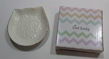 Gold Trim Cat Trinket Dish