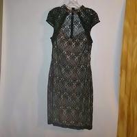 Black Lace Dress Mystic ModCloth Stylish Surprise XL made in USA