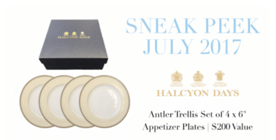 Halcyon Days Antler Trellis Set of Appetizer Plates
