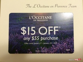 L'Occitane $15 Off any $55 Purchase Code
