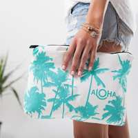 Aloha collection mid- size cocoa pouch