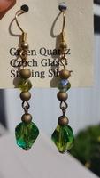 Green Quartz swarovsky crystal sterling earrings