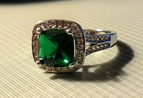 (faux) Emerald & Diamond Ring Size 7