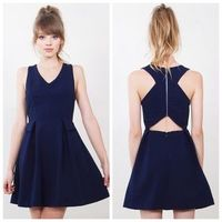 Sugar Lips Country Grammar Navy Cut Out Back dress