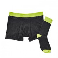 Related Garments Boxer Brief + Sock Set - Charcoal/Yellow