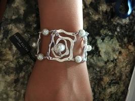 Karine Sultan Sterling Silver Plated & Freshwater Pearls Statement Bracelet