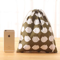 Hedgehog laundry drawstring bag