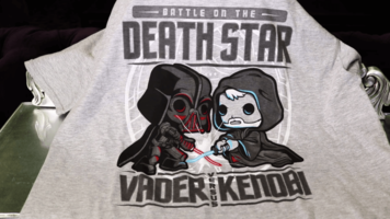 Star Wars Death Star Vader VS Kenobi T-shirt - Size Large - Grey