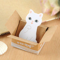 White Cat in a Box Tiny Sticky Notes