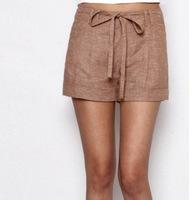 Zenana Outfitters Textured Linen Shorts Mocha Size Small