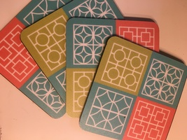 4 retro breeze block coasters