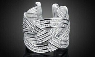 Sterling Silver Adjustable Braided Ring