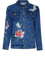 Glamorous Floral Embroidered Denim Jacket-Small