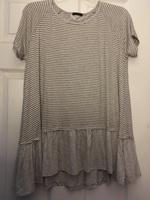 Staccato brand grey/white striped shirt- L