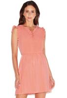 Swiss Dot Ruffle Sleeve Dress - Size Large