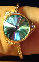 Teal Blue Faux Diamond Ring Size 6