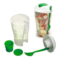 Salad Cup w/ Fork - Set of 2 - Neon Green