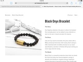 Black onyx and brass bracelet