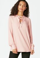JustFab Tie Bow Blouse- Bridal Rose